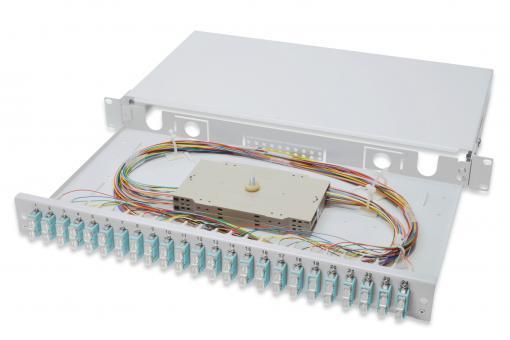 Caja de empalme de fibra de vidrio, equipada, SC, OM3