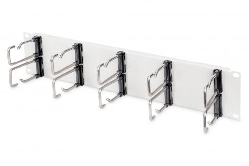 """Cable Management Panel with Steel Rings for 482.6 mm (19"""") Cabinets, 2U"""