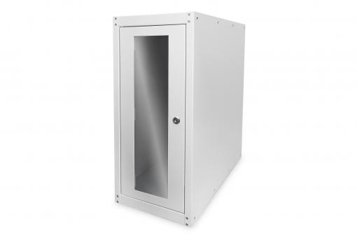 Computer housing with glass door, rolling, lockable, with ventilation slits