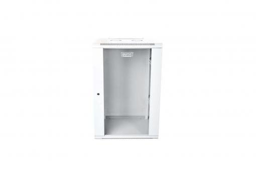 """Szafa sieciowa wisząca 19"""" 21U rack 600x600, drzwi szyba, szary, niedzielona, złożona, 60kg"""