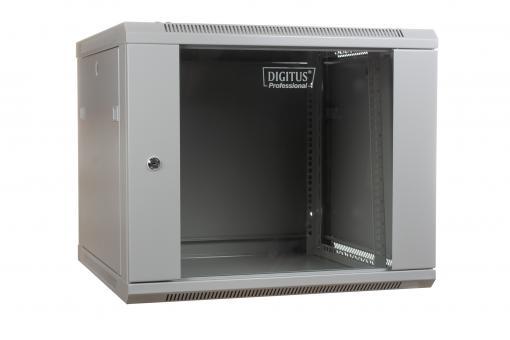 """Szafa sieciowa wisząca 19"""" 9U rack 600x450, drzwi szyba, szary, niedzielona, niezłożona, 60kg"""
