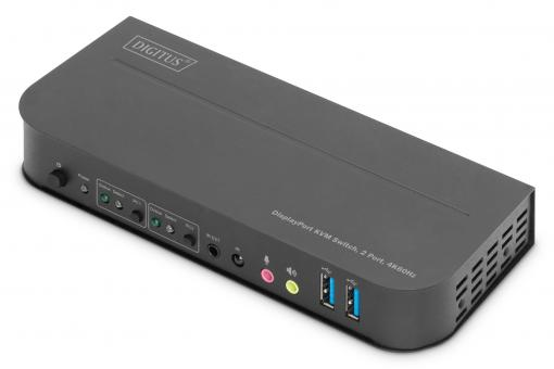 KVM Switch, 2-Port, 4K60Hz, 2 x DP in, 1 x DP/HDMI out