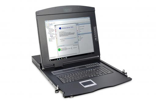 "Modular console with 17"" TFT (43,2cm), 16-port. Cat.5 KVM & Touchpad, german keyboard"