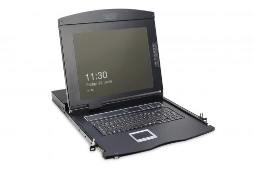 Konsola modułowa z monitorem TFT o przekątnej 17″ (43,2 cm), 16-portowym przełącznikiem KVM Cat. 5 & touchpadem, klawiatura rosyjska