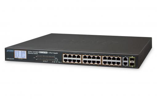 24-Port Gigabit PoE Switch, 19 Zoll, Unmanaged, 2 Uplinks