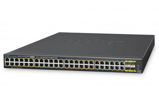 48-Port 10/100/1000T 802.3at PoE + 4-Port 100/1000BASE-X SFP Managed Switch / 440 W
