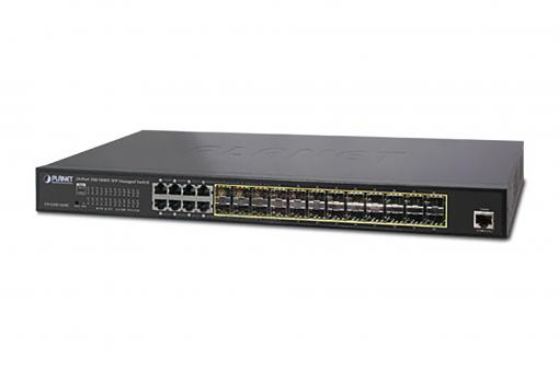 24-Port Gigabit Switch, 19 Zoll, Managed, 8 Uplinks