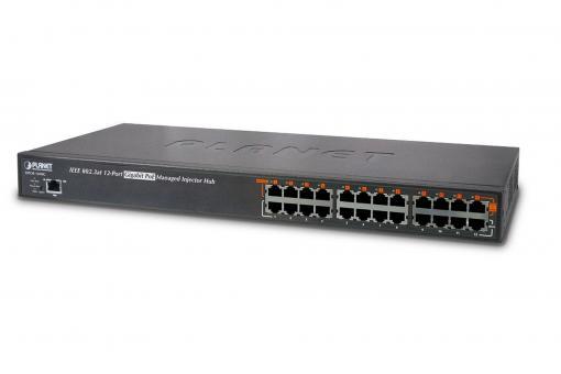 12-Port Gigabit IEEE 802.3at PoE+ Managed Injector Hub (360 watts)
