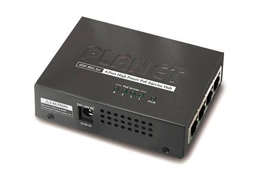 4-Port IEEE 802.3at High Power over Ethernet Injector Hub