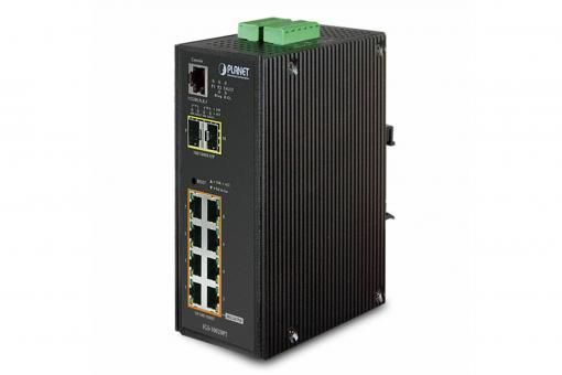 Industrial 8 Port Gigabit PoE Switch, Managed, 2 Uplinks