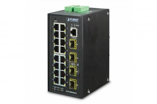 Industrial 16-Port Gigabit Switch, Managed, 4 Uplinks