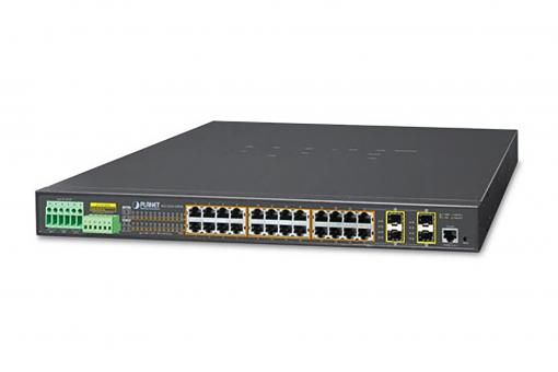 Industrial 24 Port PoE Switch, 19 Inch, Unmanaged, 4 Uplinks