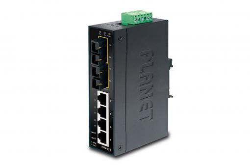 4-Port 10/100Base-TX + 2-Port 100Base-FX Industrial Fast Ethernet Switch, Singlemode