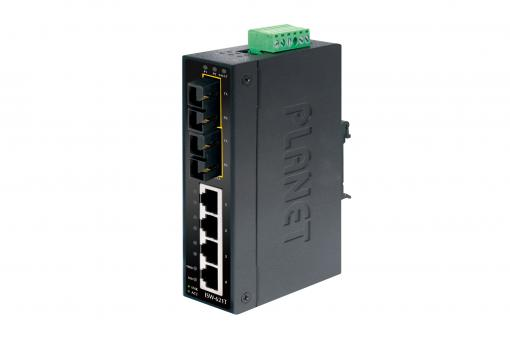 Industrial Fast Ethernet Switch, 4 Port RJ45 + 2 Port SC