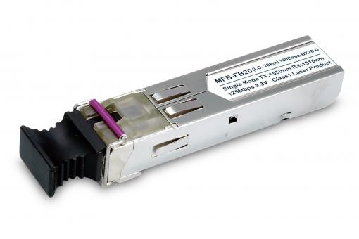 SFP-Port 100Base-BX Transceiver (WDM,TX:1550nm, BiDi LC, Singlemode) -20km