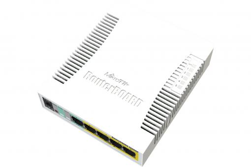 MikroTik RouterBOARD RB260GSP, 5-port Gigabit smart switch with SFP cage, SWoS, PSU, POE-OUT