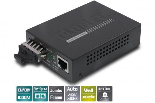 Gigabit media converter, RJ45/ SC