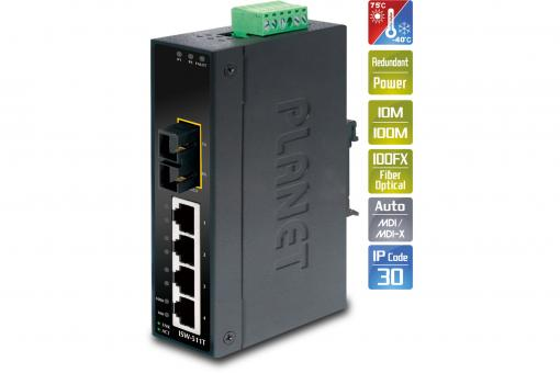 4-Port 10/100Base-TX + 1-Port 100Base-FX Industrial Fast Ethernet Switch, Multimode