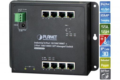Industrial 8-Port 10/100/1000T + 2-Port 100/1000X SFP Wall-mount Managed Switch