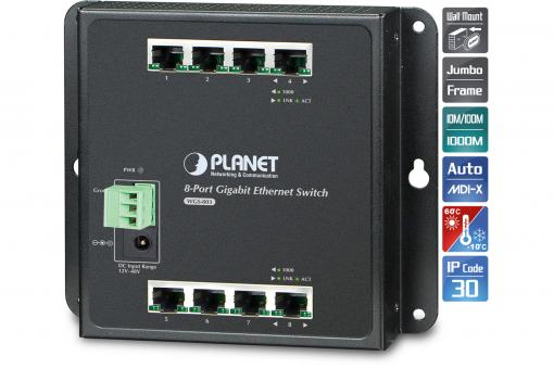 Industrial 8-Port 10/100/1000T Wall-mount Switch