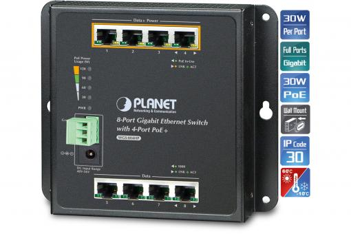 8-Port 10/100/1000T Wall Mounted Gigabit Ethernet Switch with 4-Port PoE+