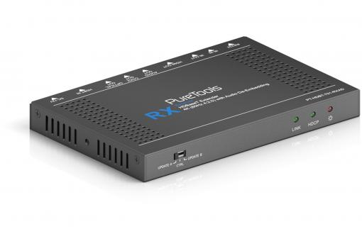 4K HDBaseT Receiver with Analog and Digital Audio De-Embedding
