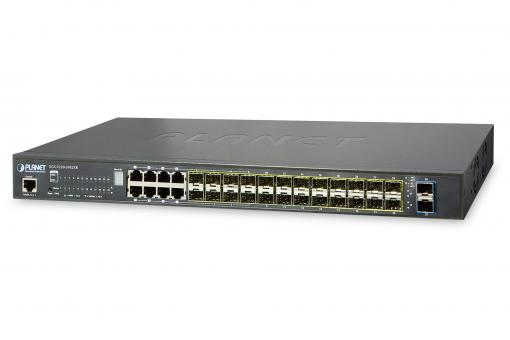 L2+ 24-Port 100/1000BASE-X SFP with 8-Port Shared TP + 2-Port 10G SFP+ Managed Stackable Switch
