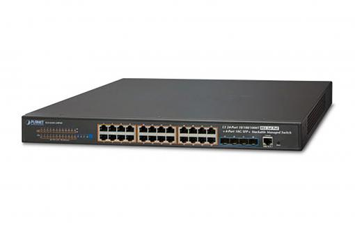 Layer 3 24-Port 10/100/1000T 802.3at PoE + 4-Port 10G SFP+ Stackable Managed Switch