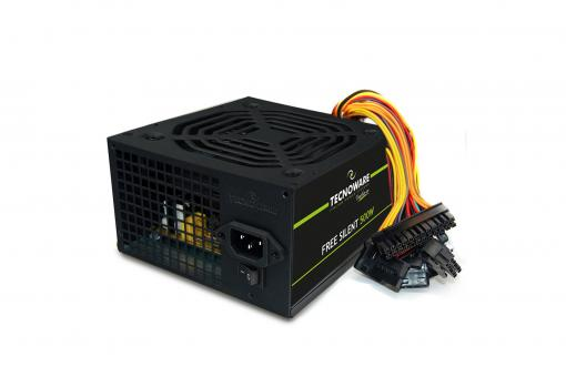 Zasilacz komputerowy ATX 500 W, went. 12 cm, 2xSATA, 1x20/24 piny, 1x12V 4+4 piny, 2xMolex, 1xFloppy