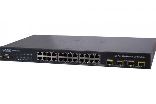 24-Port Gigabit Switch, 19 Zoll, Managed, 4 Uplinks